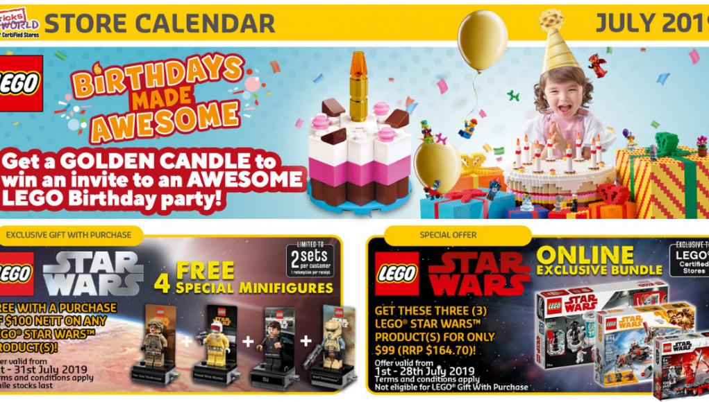July 2019 LEGO Store calendar
